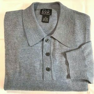 New Jos A Bank Sweater L Polo Merino Wool Lt Gray